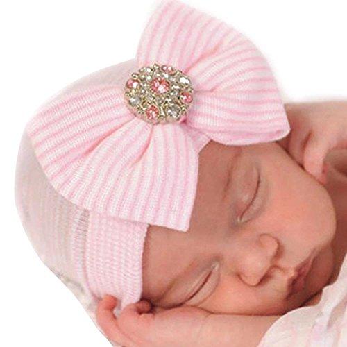 ZILucky Babymütze Baby Mädchen Neugeborenen Mütze Neugeborenenmütze Erstlingsmütze Strick Mütze Hut Baumwolle (Rosa mit Strass)