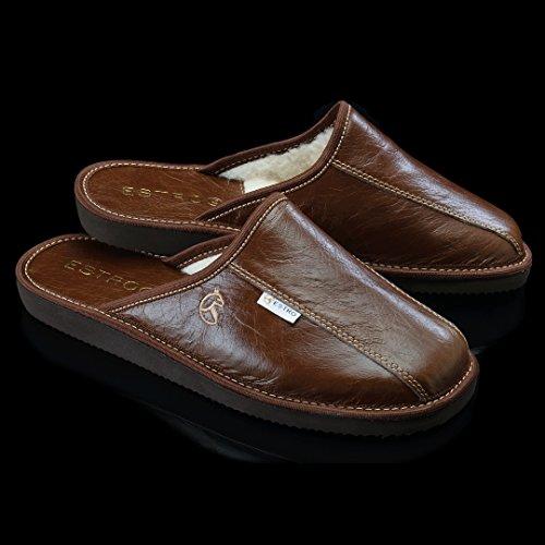 ESTRO Rust Comodo Lana Pelle Pantofole Uomo Whisky/lana