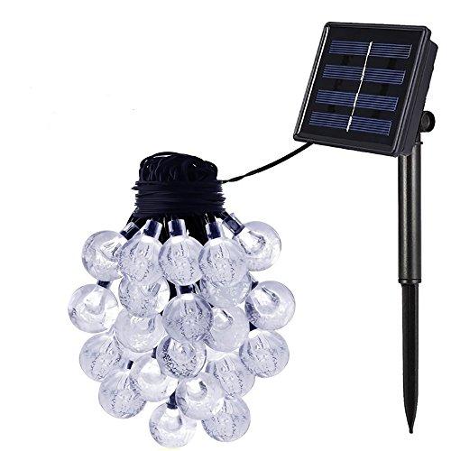 Esky® Led Solar Guirnaldas Luminosas - SL50 Luces de Cadena de 20 pies 30 LEDs Crystal Ball Globe Luces de Tira para Decoración de Jardín Camino(blanco)