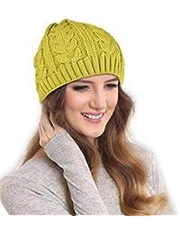 26a094cda7e DRUNKEN Women s Warm Knitt Hat Wool Baggy Beanie Skull Cap Woollen Cap Green  Free Size