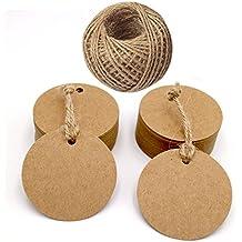 100etiquetas de regalo, papel Kraft marrón, incluye cordel de yute de 30metros, para manualidades y comercios