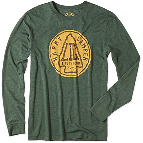 Life is Good Herren Cool Long Sleeve Shirt HAPPY CAMPER (holzig grün), Herren, Woodsy Green