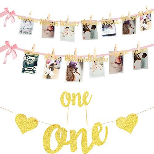 meekoo 12 Monate Foto Banner EIN Banner und EIN Kuchen Topper für die Erste Geburtstag Partei Baby Dusche Dekorationen, Gold Funkeln (Banner Kuchen-topper Geburtstag)