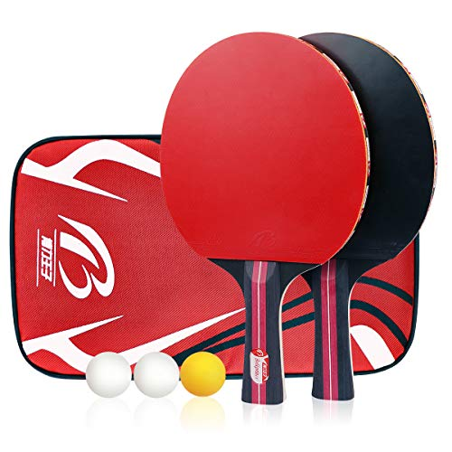 Calmare Tischtennis-Set, Packung mit 2 Premium-Paddeln, Training/Freizeit-Schläger-Kit, Accessoires Bundle Portable Cover Case Bag -