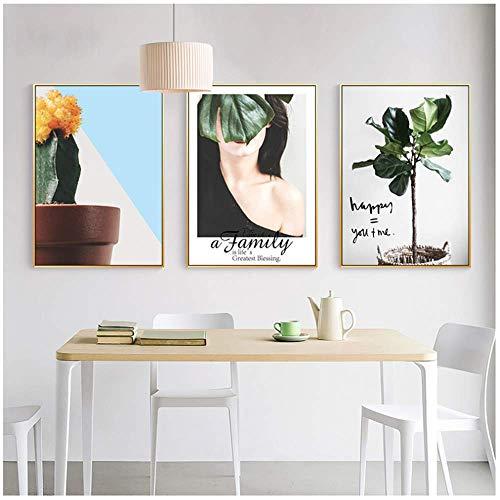 YIYAOFBH Leinwand Wandkunst Beauty Plant Topf Kaktus Modell Wohnkultur Green Leaf Leinwand Malerei Wandbilder Mädchen Schlafzimmer Wandbild Kunst Poster Drucken Ungerahmt 3 Stück Set 50 * 70 cm