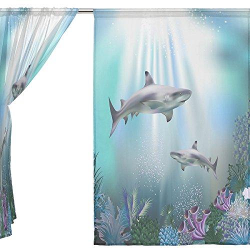 jstel 2Pcs Voile Fenster Vorhang, marine Moti Ocean Dolphin tropical Fisch Coral, Tüll Sheer Vorhang Tuch Querbehang 139,7x 198,1cm Zwei scheibenelementen Set, Polyester, blau, 55x84x2(in)