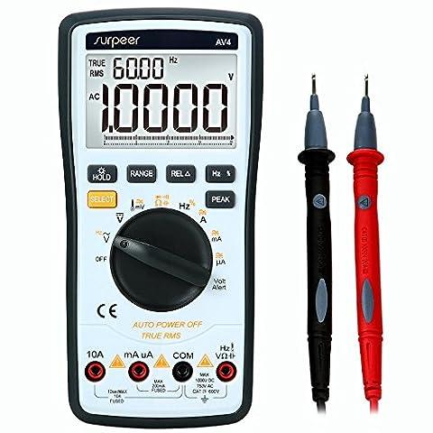 Multimètre Numérique Testeur, SURPEER True RMS 4 1/2 Voltmètre de Portée Automatique - Testeur de Voltage AC/ DC Courant Ohmmètre Résistance Diodes Continuité Sonde de Température Pile Fournie