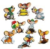 GUMA Magneticum 2103 Mäuse Kühlschrankmagnete - 8er-Set Witzige Mäuse - Kuehlschrank-Magnete mit Motiv für Kinder Magnettafel Magnetboard Pinnwand Memoboard Whiteboard Memotafel
