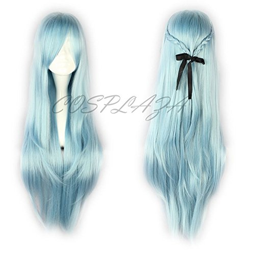 COSPLAZA Perruque longue bleue Anime Cosplay Wigs Sword Art Online Asuna Cheveux