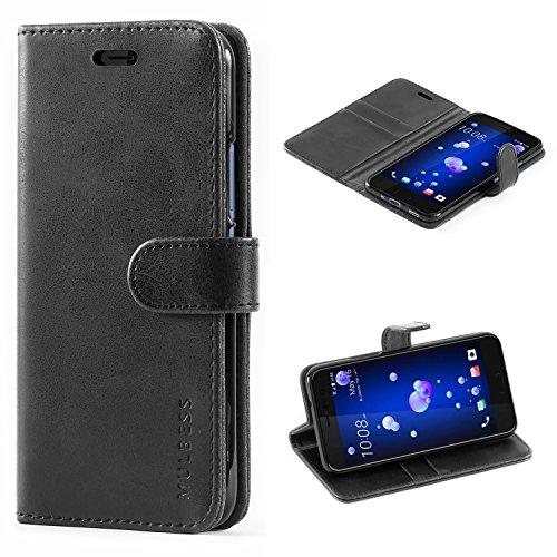 Mulbess Handyhülle für HTC U11 Hülle, Leder Flip Case Schutzhülle für HTC U11 Tasche, Schwarz