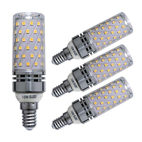 Sagel E14 LED Mais Birne, 15W LED Kerzenleuchter Glühbirnen 120 Watt Äquivalent, 1500lm, Warm Weiß 3000K LED Kronleuchter Lampen, Sockel E14, Nicht Dimmbare LED Lampe, 4er Pack 4p Uv-lampe
