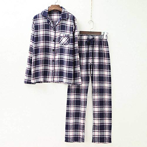 Plaid Pyjama Damen Plaid Gebürstet Baumwolle Langarm Kordelzug Hose Herbst Frühling Lässig Pyjama -