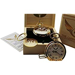 Rememberance Day Gold Poppy Luxury Set Gift Pocket Watch and Keyring 24 Carat Gold Plated Lest We Forget Armed Service