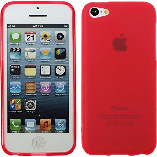 PhoneNatic Case für Apple iPhone 5c Hülle Silikon rot matt Cover iPhone 5c Tasche + 2 Schutzfolien Rot