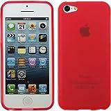 PhoneNatic Case für Apple iPhone 5c Hülle Silikon rot matt Cover iPhone 5c Tasche + 2 Schutzfolien