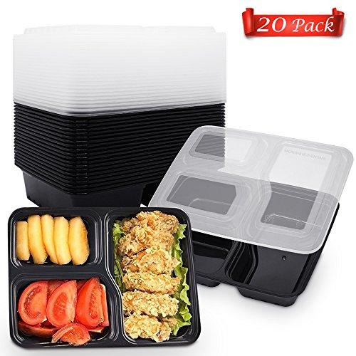 KONKY 20er Pack 3-Fach Meal Prep Container, BPA-Frei Frischhaltedosen Bento-Box Set mit Deckel, Mikrowellengeeignet, Spülmaschinenfest, Wiederverwendbar, Verstärkt und Zertifiziert