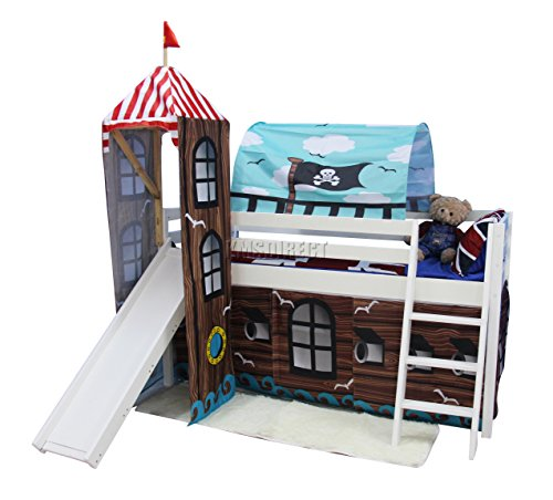 FoxHunter Childrens Wooden MDF Mid Sleeper Cabin Bunk Bed Kids Tent Slide Tower Single 3FT Pirate White Frame No Mattress New