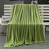 samLIKE Super Soft Warm Solide Warm Micro Plüsch Fleece Decke Werfen Teppich Sofa Bettwäsche (Grün)