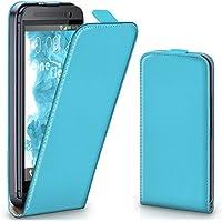 HTC One M8 Hülle Türkis [OneFlow 360° Klapp-Hülle] Etui thin Handytasche Dünn Handyhülle für HTC One M8/M8s Case Flip Cover Schutzhülle Kunst-Leder Tasche