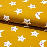 Stoff Baumwolljersey Jersey Mond Sterne senf 50cm x 150cm