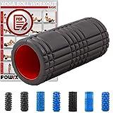 POWRX Faszienrolle Foamroller Massagerolle Pilatesrolle Schaumstoffrolle (Schwarz - Gerillt)