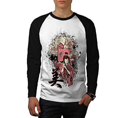 Geisha Sakura Kunst Fantasie Kostüm Perücke Herren S Baseball lange Ärmel T-Shirt | Wellcoda