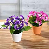 XdiseD9Xsmao 1 Stück Lebendige Farbe Erfrischende Künstliche Blume Stiefmütterchen Pflanze Bonsai Gefälschte Blatt Pflanze Home Office Garten Schreibtisch Party Decor Ornament Gelb