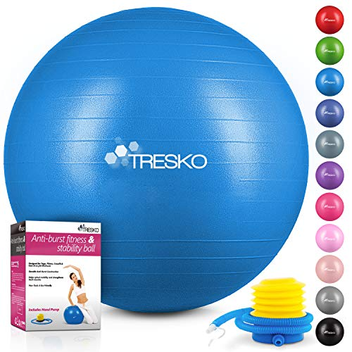 TRESKO® Anti-Burst Gymnastikball 55cm 65cm 75cm 85cm | Sitzball | Yogaball | 300 kg | mit Luftpumpe (Blau, 55cm (geeignet für 155cm oder weniger))
