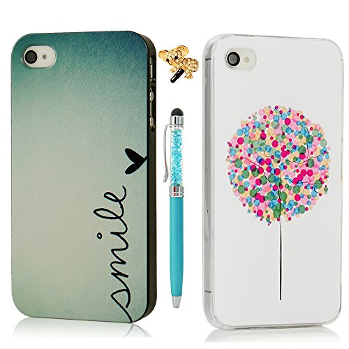 2x iPhone 4 4S Funda Transparente,iPhone 4S Funda Dura Plástico PC Case - Mavis's Diary® Funda para móvil Carcasa Resistente a los Arañazos para iPhone 4 / 4S Diseño de Pequeño Amor Corazón y Globos de colores + 1x Lápiz óptico + 1x Tapón