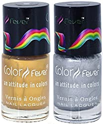 Color Fever Nail Gloss Polish Set, Gold/Silver, 17g (Pack of 2)