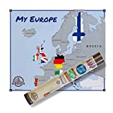 Carte de l'Europe à gratter version drapeaux - Voyagez et grattez les pays que vous avez visités pour obtenir une carte personnalisée - Made in Italy...