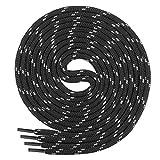 Di Ficchiano runde SCHNÜRSENKEL für Arbeitsschuhe und Trekkingschuhe - sehr reißfest - ca. 4,5 mm Durchmesser, Polyester schwarz/grau 130cm