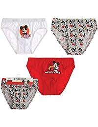 Disney Mickey Garçon Slips (lot de 3) - rouge