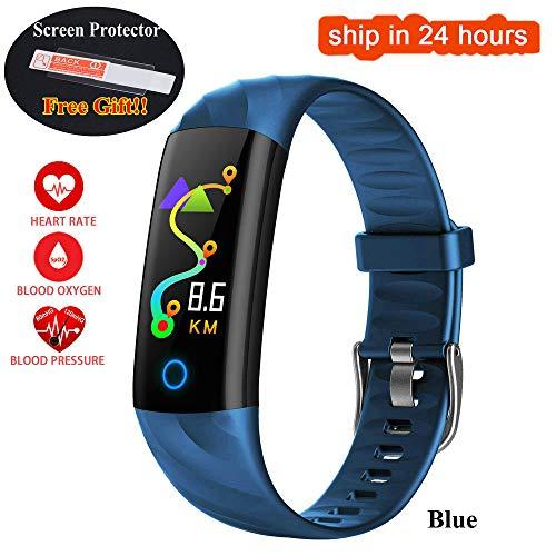 XUEYAN521 Aktivitäts-Tracker Herzfrequenz Smart Armband IP68 Wasserdichtes Blutdruck-Sauerstoffmessgerät Farbdisplay Aktivität Fitness Tracker Smart Band, Blau