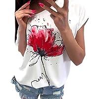 Femme Vetement Chemise Blouse T-Shirt Top ÉLéGant Chic Gothique Ete Occasionnels Floral Imprimé Chemisier à Manches Courtes Tee Shirt