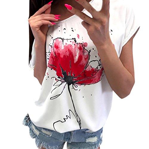 Tshirt Oberteile Damen Elegant Sommer Kurzarm Lässige Blumendruck Bluse Kurzarm Lose Tee (Weiß, S) (Tee Schwarzen T-shirt)