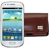MTT Quertasche für das Samsung Galaxy S3 Mini i8190 mit Gürtelclip und Sicherheitschlaufe braun