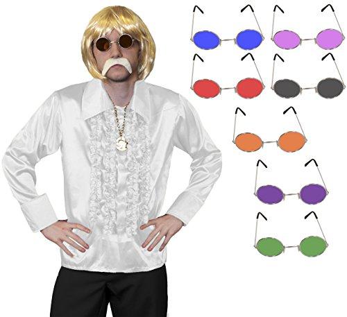 ILOVEFANCYDRESS 1960S Disco Hippie Set KOST[M VERKLEIDUNG=RÜSCHEN Hemd+MEDALLIEN Kette+Hippie Brille+PERÜCKE+Schnurrbart=Samstag Nacht Fasching Party=Hemd-Weiss/MEDIUM+ - 1960 Disco Kostüm