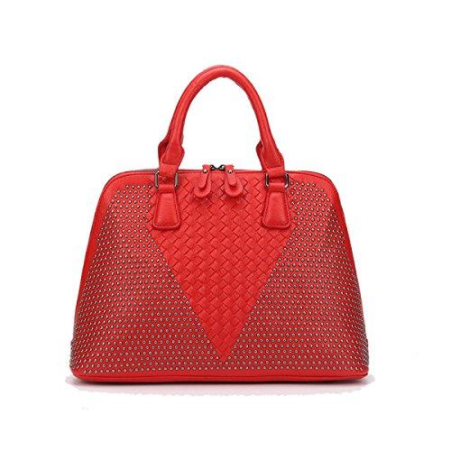 Il Trend Di Modo Di HAOYUXIANG Rivetta Il Pacchetto Diagonale Portatile Della Spalla,Black Red