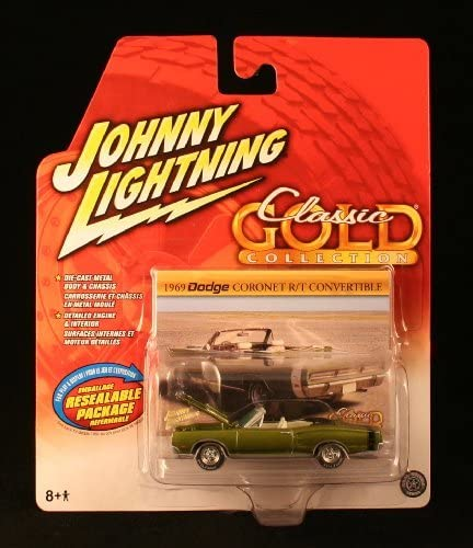 1969 DODGE CORONET R/T CONVERTIBLE  OLIVE GREEN    Johnny Lightning 2006 CLASSIC GOLD COLLECTION 1:64 Scale Die-Cast Vehicle | Technologies De Pointe