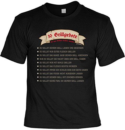 Grill T-Shirt Geschenkidee Grillen T-Shirt 10 Grillgebote die das Grillen leichter machen Grill Party Geschenk zur Grillsaison Schwarz