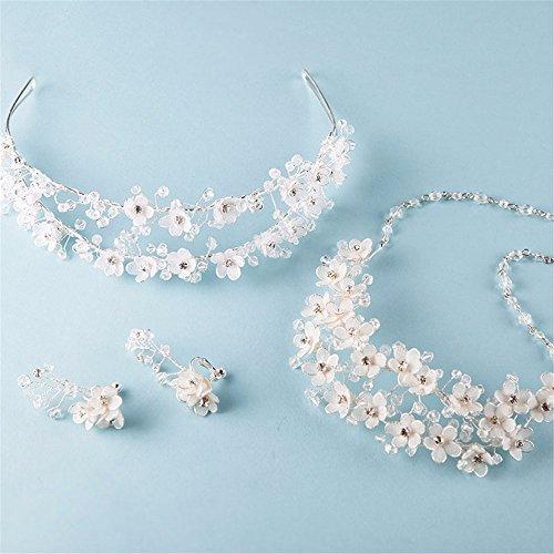 Weddwith Kopfschmuck Bridal Kopfschmuck Koreanisch Fairy Hair Accessories Halskette Ohrringe dreiteilige Brautkleider Brautkleider Strass Schmuck