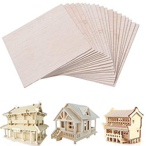 20/40 x Holzplatten - Holzplatte Modellbau Haus Schiff Flugzeug DIY Modell Balsa Platte 100 x 100 x 1 mm für Modellbasteln PPaint Crafts Dekoration Free Size 40pcs (Balsa-flugzeug-modelle)