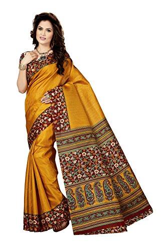 Rani Saahiba Art Bhagalpuri Silk Kalamkari Printed Saree (SKR3537_Mustard)