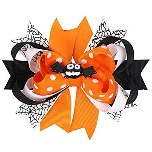 UJUNAOR Baby Mädchen Halloween Bowknot Haarnadel Kopfschmuck(Orange,12 * 9cm/4.7 * 3.5