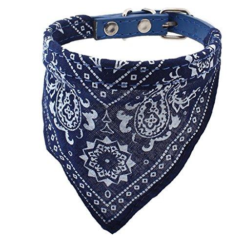 Leder Halstuch (Soccik Einstellbar Dreieck Schal Halskette Hundewelpen Kragen Schal Haustier Halstuch Hund Gürtel Schal Kragen Decor aus Leder Blau)