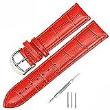 Uhrenarmband Leder Watchband für Herren Uhren Damen kalbsleder Lederarmband Ersatzband für Armbanduhren Schwarz Braun Grau Dunkelgrün 18mm 20mm 22mm 24mm 26mm