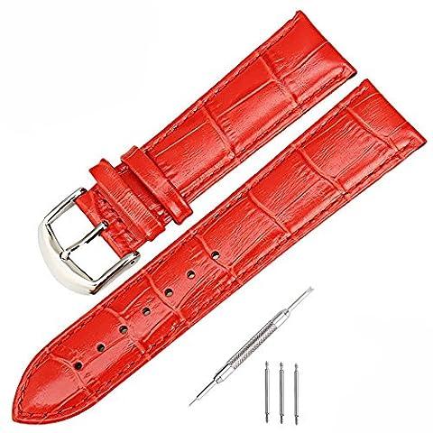 mysunny Cuir Véritable Bracelet de Montre Watch Strap Pour Homme Femme Remplacement Les Montres Haut de Gamme, Les Montres de Mode, (Rouge 18mm)