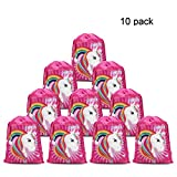 Konsait Lot 10 Unicornio Bolsa de Cuerdas Gymsack Poliéster Bolsa de Hombro Casual Linda Colegios Mochilas para Infantiles Niñas Regalos piñata artículos de fiesta de cumpleaños
