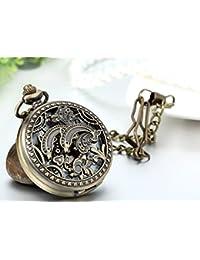 Jewelrywe reloj de bolsillo de cuarzo forma del delfín collar vintage de bronce de aleación de relojes mecánicos